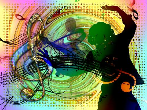 Colorful music note image